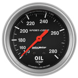 "Auto Meter - 2-5/8"" OIL TEMPERATURE, 140-280 °F, 6 FT., MECHANICAL, SPORT-COMP (3441)"