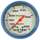 "AutoMeter - 2-5/8"" WATER TEMPERATURE, 140-280 °F, 4 FT., MECHANICAL, LIQUID FILLED, ULTRA-NITE (4235)"