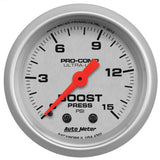 "AutoMeter - 2-1/16"" BOOST, 0-15 PSI, MECHANICAL, ULTRA-LITE (4302)"