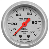 "AutoMeter - 2-1/16"" OIL PRESSURE, 0-100 PSI, MECHANICAL, ULTRA-LITE (4321)"