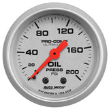 "AutoMeter - 2-1/16"" OIL PRESSURE, 0-200 PSI, MECHANICAL, ULTRA-LITE (4322)"