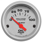 "AutoMeter - 2-1/16"" OIL PRESSURE, 0-100 PSI, AIR-CORE, ULTRA-LITE (4327)"