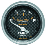"AutoMeter - 2-1/16"" FUEL LEVEL, 0-90 Ω, AIR-CORE, SSE, CARBON FIBER (4714)"
