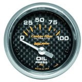 "AutoMeter - 2-1/16"" OIL PRESSURE, 0-100 PSI, AIR-CORE, CARBON FIBER (4727)"