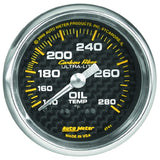 "AutoMeter - 2-1/16"" OIL TEMPERATURE, 140-280 °F, 6 FT., MECHANICAL, CARBON FIBER (4741)"