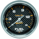 "AutoMeter - 2-5/8"" FUEL PRESSURE W/ ISOLATOR, 0-15 PSI, MECHANICAL, CARBON FIBER (4813)"