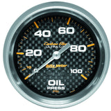 "AutoMeter - 2-5/8"" OIL PRESSURE, 0-100 PSI, MECHANICAL, CARBON FIBER (4821)"