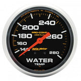 "AutoMeter - 2-5/8"" WATER TEMPERATURE, 140-280 °F, 6 FT., MECHANICAL, LIQUID FILLED, PRO-COMP (5431)"