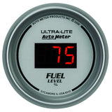 "AutoMeter - 2-1/16"" FUEL LEVEL, PROGRAMMABLE 0-280 Ω, DIG. SILVER (6510)"