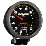 "AutoMeter - 5"" TACHOMETER, 0-9000 RPM, PEDESTAL, ULTIMATE DL PLAYBACK, BLACK (6896)"