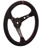 "Long Acre - Longacre Racing 15"" Aluminum Steering Wheel Black suede grip with red stitching (56797)"