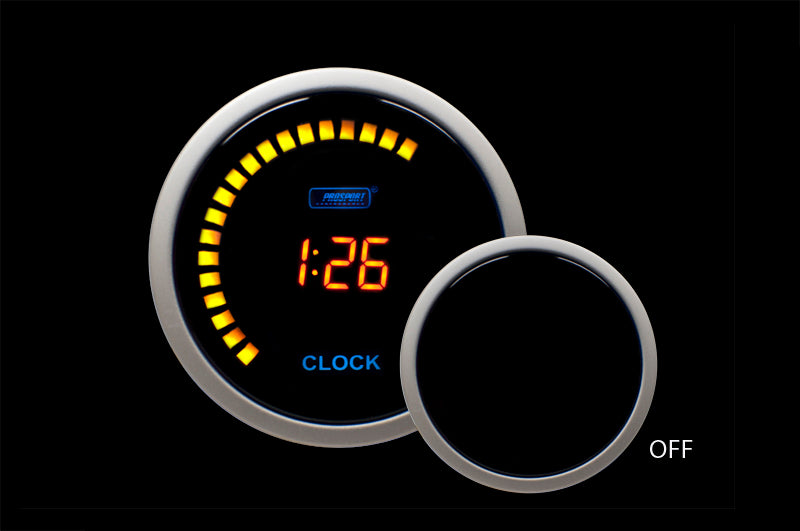 Pro Sport Gauges - Pro Sport Gauges - 12 volt Digital Clock-Amber