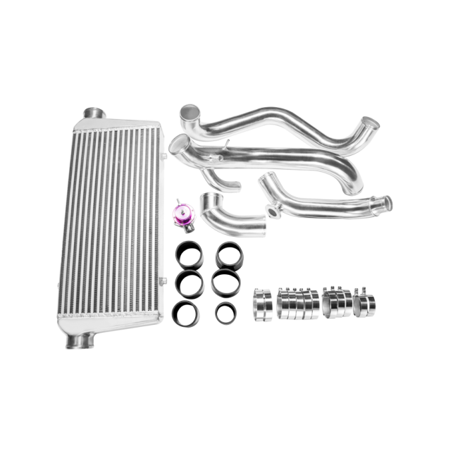 CXRacing - FMIC Intercooler Kit + BOV For 89-99 Nissan 240SX S13 S14 or S15  Chassis with S14 SR20DET Engine Swap (KIT005-IC0022-BOV009)