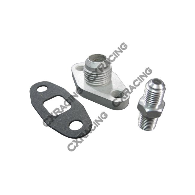 CXRacing - OIL LINE FLANGE FITTING KIT FOR 86-92 TOYOTA SUPRA 7MGTE SINGLE TURBO 5PCS (OIL-KIT-7MGTE-5PCS)