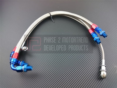 P2M NISSAN S14/15 SR20DET STEEL BRAIDED TURBO LINE KIT - TOP MOUNT (P2-T28NS145TM)