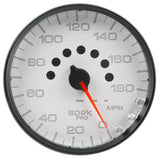 "AutoMeter - 5"" SPEEDOMETER, 0-180 MPH, ELECTRIC, SPEK-PRO, WHITE DIAL, BLACK BEZEL, CLEAR LENS (P23012)"