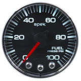 "AutoMeter - 2-1/16"" FUEL PRESSURE, 0-15 PSI, STEPPER MOTOR, SPEK-PRO, BLACK DIAL, CHROME BEZEL, CLEAR LENS  (P31531)"