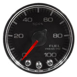 "AutoMeter - 2-1/16"" FUEL PRESSURE, 0-100 PSI, STEPPER MOTOR, SPEK-PRO, BLACK DIAL, CHROME BEZEL, CLEAR LENS  (P31431)"