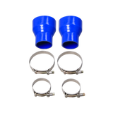 "CXRacing - 4"" - 2.5"" STRAIGHT BLUE SILICON HOSE COUPLER 2 PCS W/ T BOLT CLAMPS (SH400R250-4BL-120X2_CLAMPX4)"