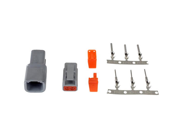 AEM - DTM-STYLE 2-WAY CONNECTOR KIT; INCLUDES PLUG, RECEPTACLE, PLUG WEDGE LOCK, RECEPTACLE WEDGE LOCK, 3 FEMALE PINS & 3 MALE PINS