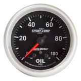 "AutoMeter - 2-5/8"" OIL PRESSURE, W/ PEAK & WARN, 0-100 PSI, STEPPER MOTOR, SPORT-COMP II (7653)"