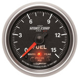 "AutoMeter - 2-5/8"" FUEL PRESSURE, W/ PEAK & WARN, 0-15 PSI, STEPPER MOTOR, SPORT-COMP II (7661)"