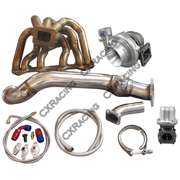 CXRacing - Turbo Manifold Downpipe Oil Line Kit For SC300 1JZ-GTE VVTI 1JZGTE Swap (TRB-KIT-1JZGTE-VV-ST-SC300-GT35-T4-NO-IC)