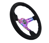 NRG - Steering Wheel  Black Suede / Neochrome
