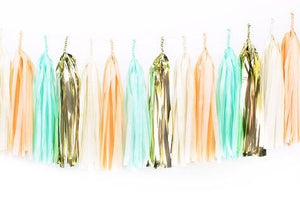 Tissue Paper Tassel Garland - Beige, Peach, Mint and Gold