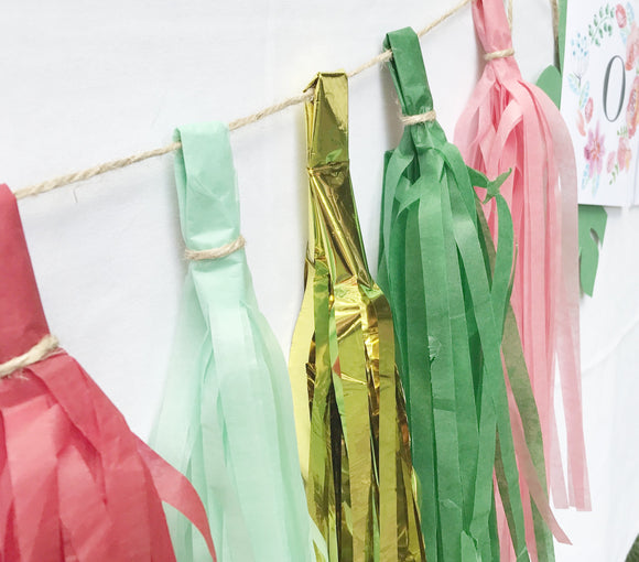 Tissue Paper Tassel Garland - Green, Mint, Red, Pink and Gold