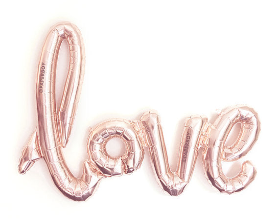 LOVE script Rose Gold Foil Balloon