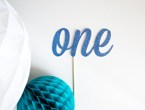 Glitter One Cake Topper - Blue