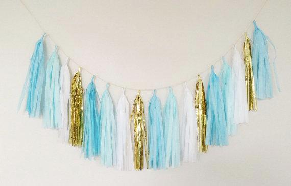 Tissue Paper Tassel Garland - Light Blue, Dark Blue, White and Gold