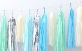 Tissue Paper Tassel Garland DIY Kit - Beige, Blue, Mint and Silver