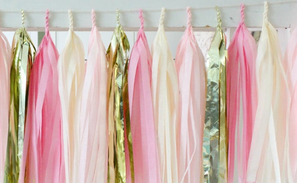 Tissue Paper Tassel Garland DIY Kit - Light Pink, Dark Pink, White and Gold