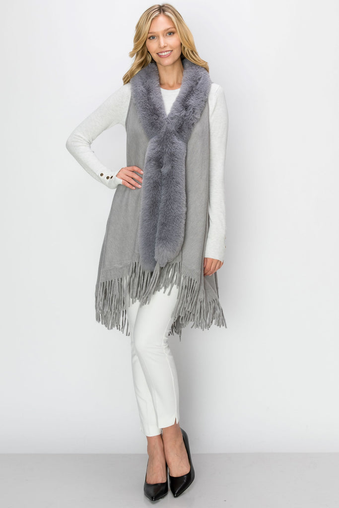 VST-3012-GRY| Faux-fur Shawl