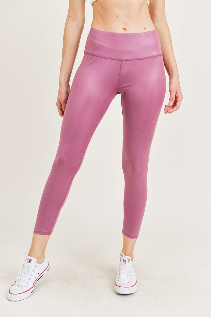 YP3743-DUSTYMVE | Matte Shine Coated 7/8 Leggings