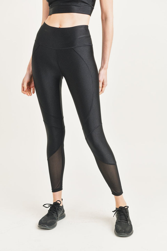 YP3729-BLK | Sheen with Sheer Mesh 7/8 Legging