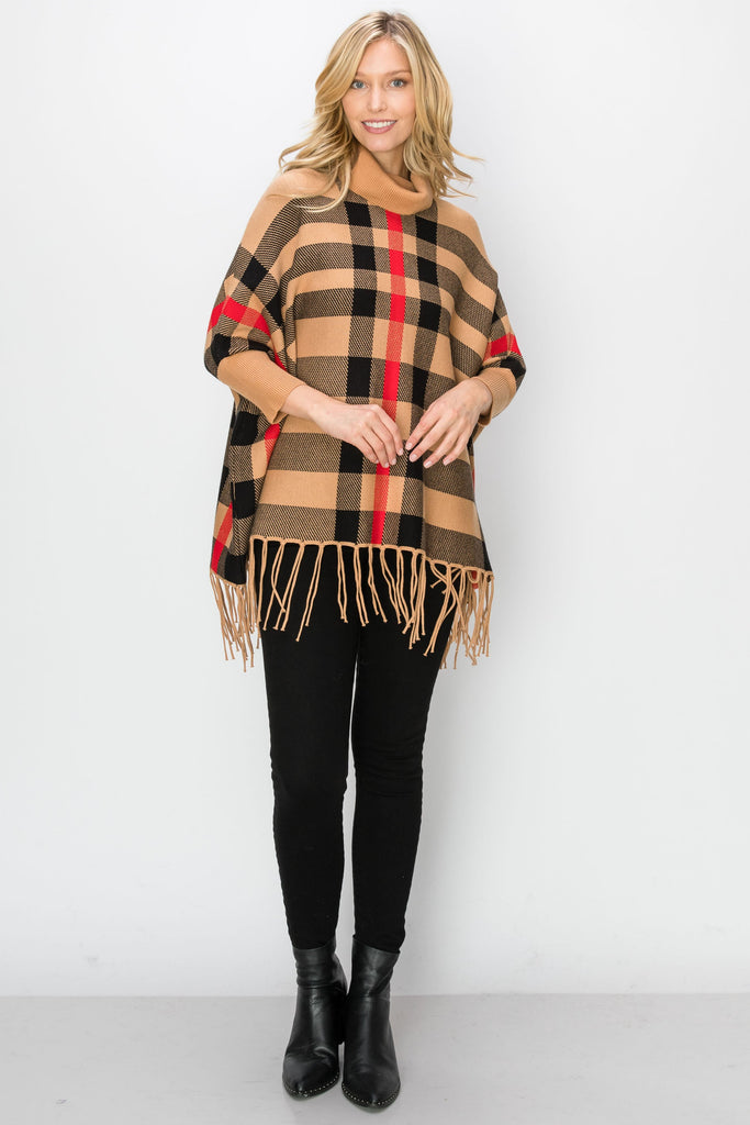 SCA-2216-CAMEL | Cowl Neck Fringe-Trim Sleeved Poncho