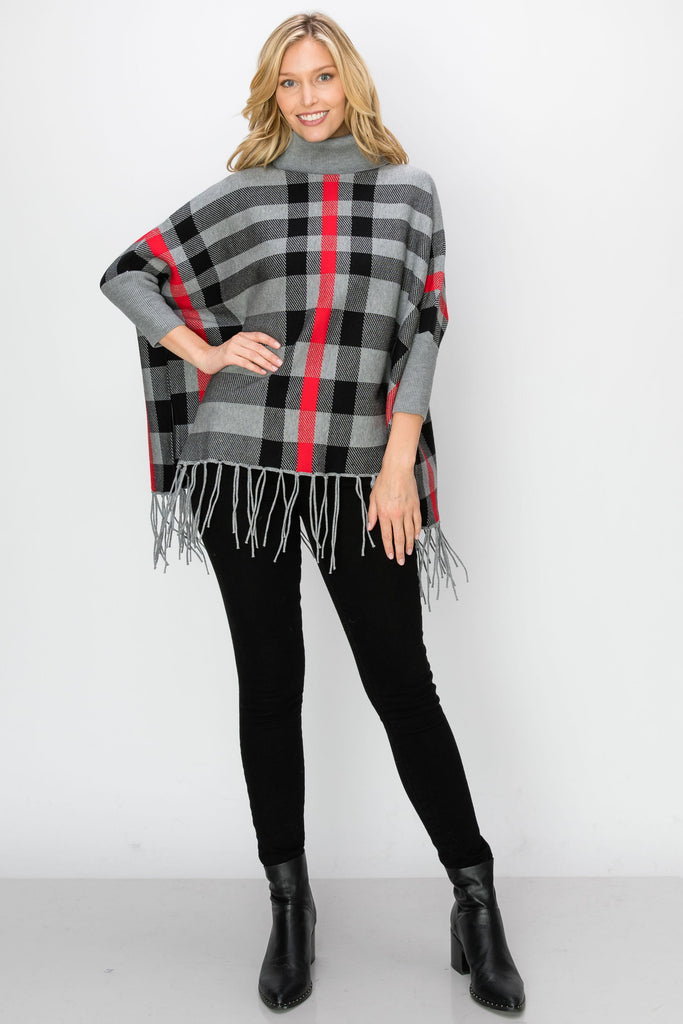 SCA-2216-GRY | Cowl Neck Fringe-Trim Sleeved Poncho