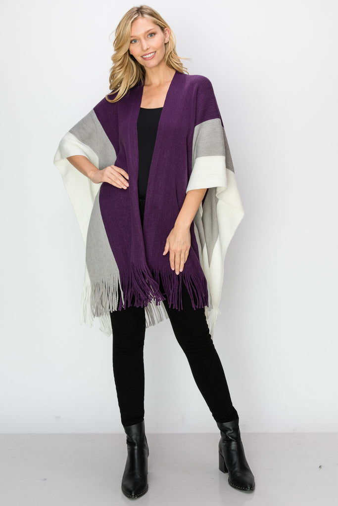 SCA-2240-PURP | Color Block Fringe-Trim Ruana