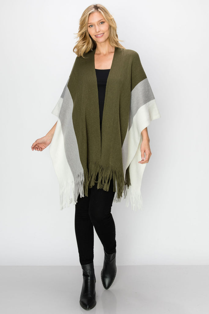SCA-2240-OLV| Color Block Fringe-Trim Ruana