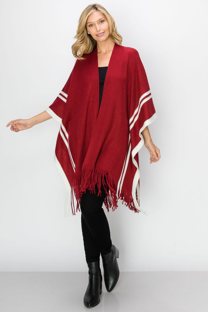 SCA-2241-BGD | Color Block Fringe-Trim Ruana