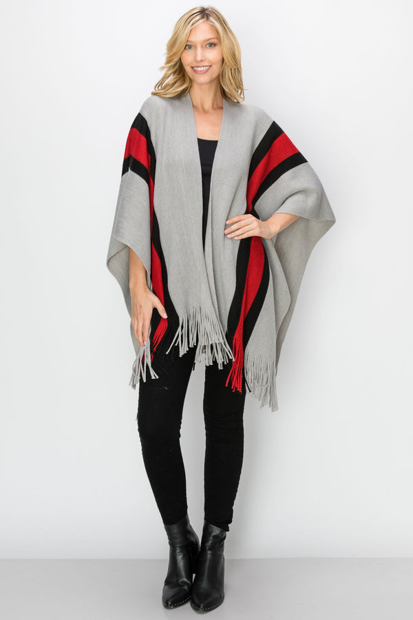 SCA-2236-GRY | Grey & Red Color Block Fringe-Trim Ruana