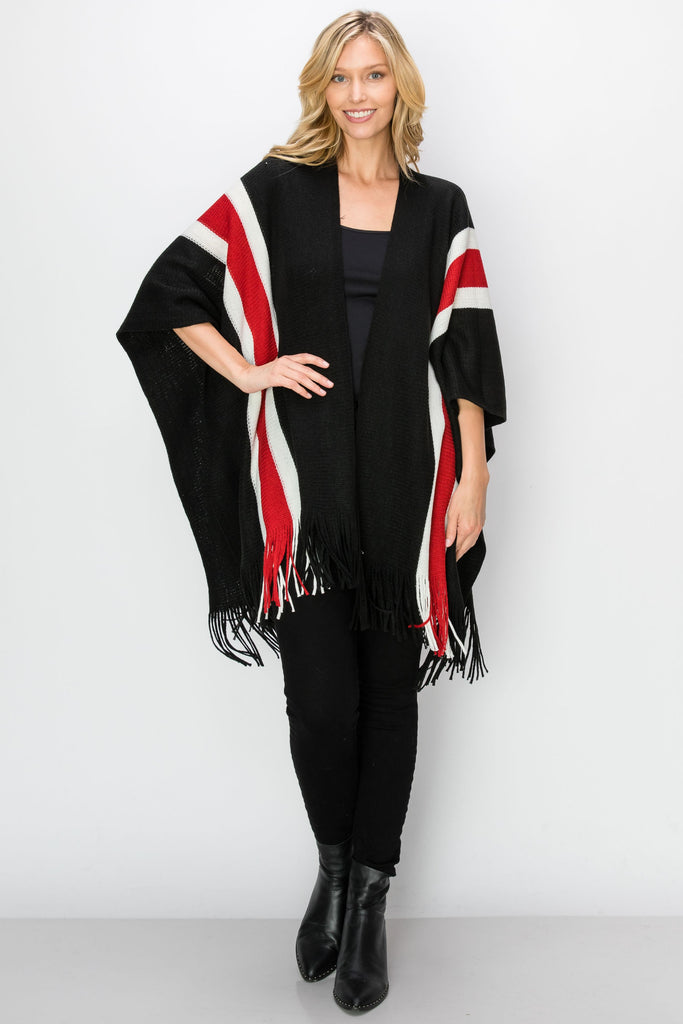 SCA-2236-BLK | Black & Red Color Block Fringe-Trim Ruana