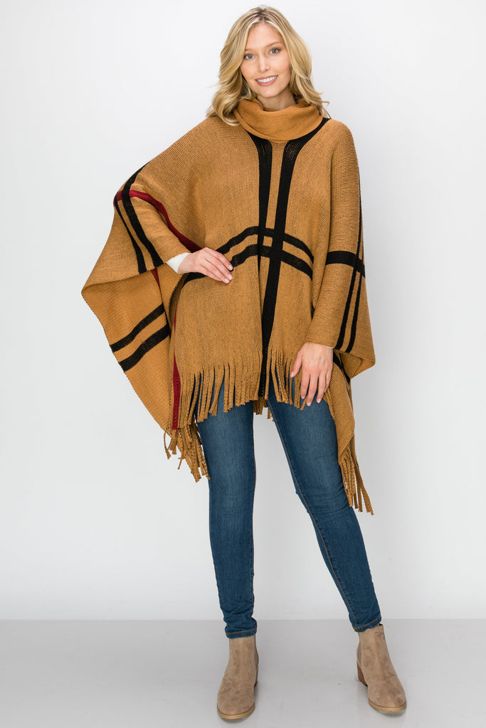 SCA-2239-CAMEL | Knitting Turtleneck Poncho