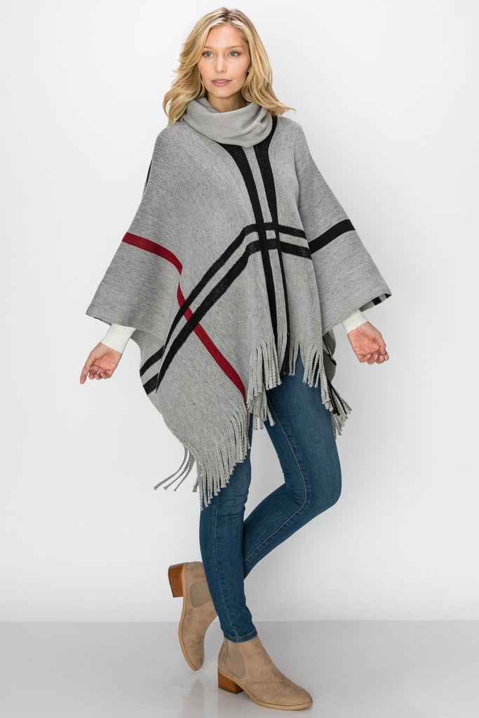 SCA-2239-GRY | Knitting Turtleneck Poncho