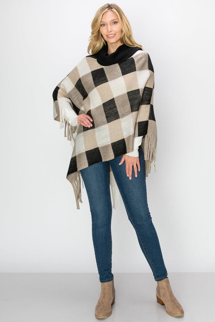SCA-2220-BLK | Plaid Cowl Neck Fringe-Trim Poncho