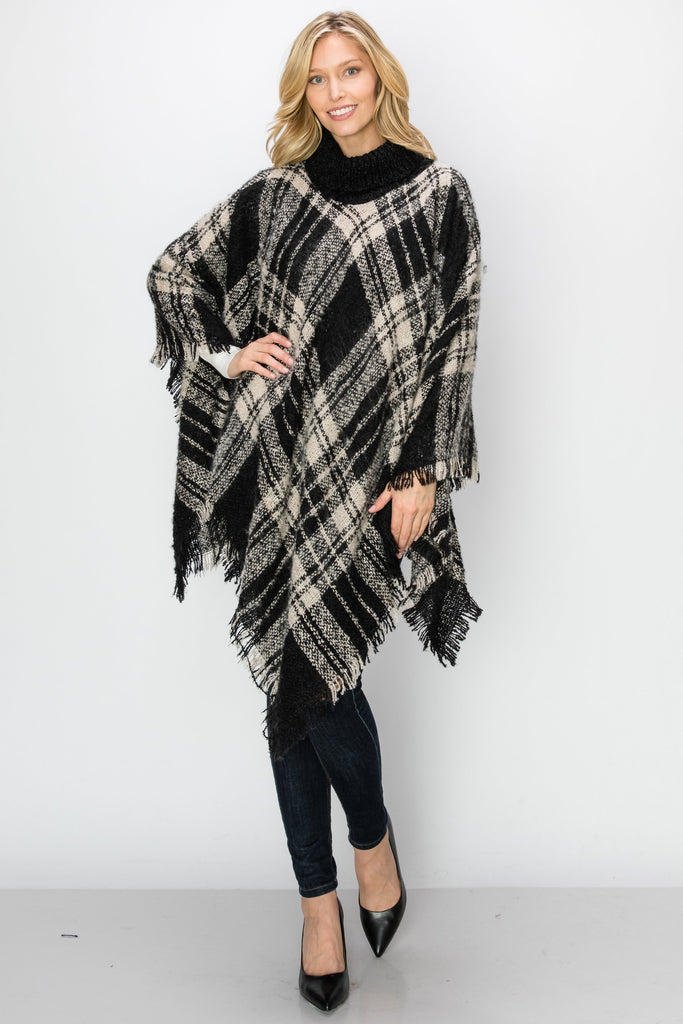 SCA-2235-BEIGE | Black & Beige Plaid Turtleneck Fringe-Trim Poncho
