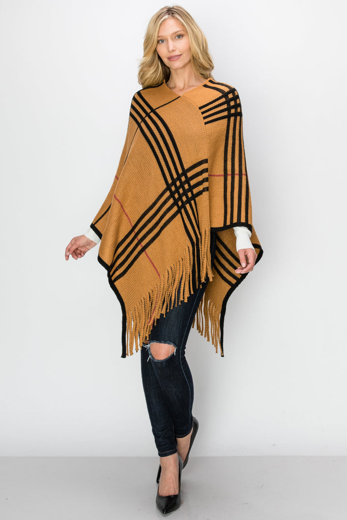 SCA-2233-CAMEL | Checker Casual Fringe-Trim Poncho